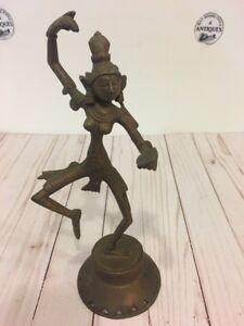 Vintage Antique Bronze/Brass Dancing Hindu Indian Goddess Statue 11-1/4'' Tall