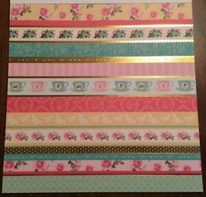 12x12 Pink Borders With Gold Foil Scrapbooking Paper