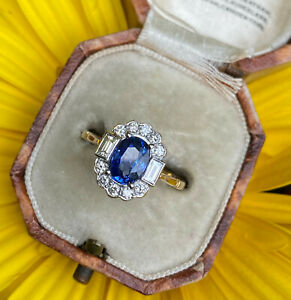 Victorian Style Sapphire and Diamond 18ct Yellow Gold Ring 0.45ct + 1.50ct