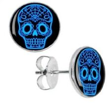 Blue Electric Sugar Skull Stud Earrings Stainless Steel Inlay