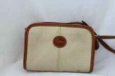 Dooney Bourke Ivory Brown Leather Mini Purse Bag