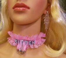 ANY WORDS Personallized Locking Pink Lace Choker KITTEN Bells Sissy BDSM DDLG