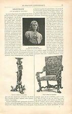 Torchère Chaise Sculptée par Brustolon à Venise GRAVURE ANTIQUE OLD PRINT 1897