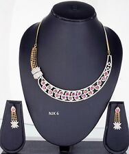 Indian Fashion Jewelry Bollywood American Diamond Necklace Earrings Sets NJK 06