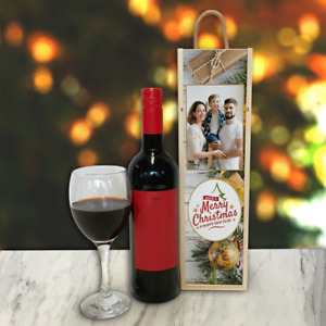 Personalised Wine Box Have A Merry Christmas Great Gift Add Any Photo & Text