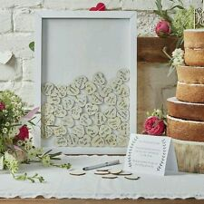 BOHO WEDDING DAY DROP TOP WOODEN FRAME ALTERNATIVE GUEST BOOK 70 HEARTS INC