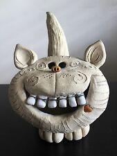 Fine UNIQUE Cheshire Cat Folk Art Pottery Sculpture Pen Brush Holder Teeth WOW