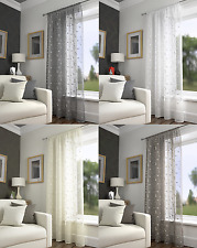 HARGATE TRADITIONAL PLAIN FLORAL LEAVES SLOT TOP VOILE CURTAIN PANEL MUSLIN LOOK