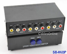 2-Way RCA Composite Audio/Video Push-Button Switch Box, SB-AV2P