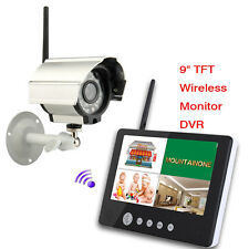 "Wireless 9""TFT LCD 2.4G 4CH DVR Home Security System Monitor Night Vision Camera"