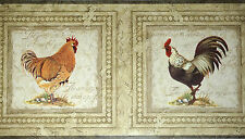 Chickens Rooster Hen Wallpaper Border Rustic Wooden Frame Kitchen Wall Decor
