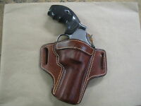 """Smith & Wesson S&W L Frame 4"""" Leather 2 Slot Pancake Belt Holster CCW TAN RH"""