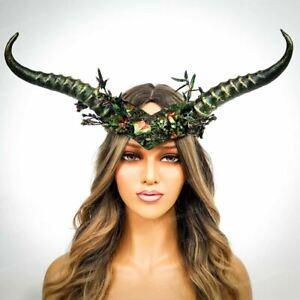 Horns Headband Rams Deer Twisted Horns Halloween Headpiece Cosplay Green Gold