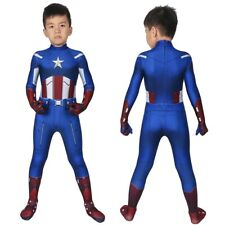Captain America Costume Cosplay Suit Kids Steve Rogers The Avengers 3D Printed