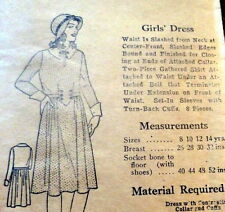 RARE VTG 1930s GIRLS DRESS Sewing Pattern 14 OLD DEADSTOCK