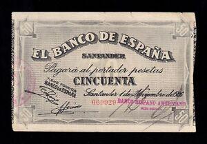 F.C. BANCO DE SANTANDER , 50 PESETAS 1936 , MBC- .