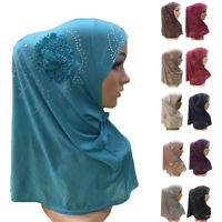 One Piece Hijab Amira Muslim Women Flower Hot Drill Headscarf Islamic Headwear