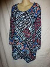 AUTOGRAPH Red Blue stretch long sleeve tunic Top Dress SZ 14
