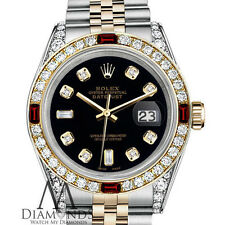 Ladies 2 Tone Rolex 26mm Datejust Black Color 8+2 Diamond Dial with Ruby Watch