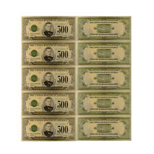 5pcs 1918 Collectible Art Craft Usa 500 Dollar Antique 24k Gold Plated Banknote