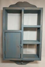 Shadow Box Wall Hanging Shelf 4 Shelves and a Door 3 Pegs