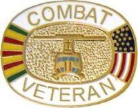 VIETNAM WAR COMBAT VETERAN MEDAL FLAG MILITARY  PIN
