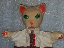 vintage 1930s Wpa Folk Art Cat with Tie Halloween Puppet Toy paper mache head