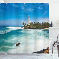 Tropical Island Lighthouse Palm Trees Seaside Beach Print Shower Curtain Set
