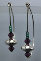 Unique One Of A Kind Modernist Sterling Silver Earrings