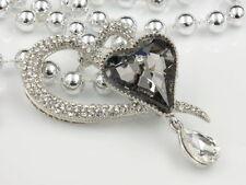 silver plate pendant Brooch pin F92 wedding clear crystal gray heart Rhinestone