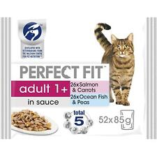 52 x 85g Perfect Fit 1+ Adult Wet Cat Food Pouches Mixed Fish in Sauce