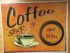 "TIN SIGN ""Coffee Shop 5 Cents"" Vintage Caffeine Decor Mancave Diner Shop Gift"