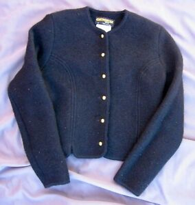 Geiger Tyrol Austria Boiled Wool Cardigan Sweater Jacket Black Women's Size 40