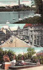 Chemnitz Sachsen Johannisplatz Königsplatz Strassenbahn Postkarte gel. 1915