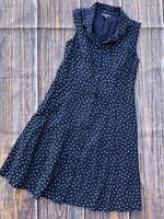 Womens 2 ModCloth Navy Floral 90s Style Tie Back Cotton Dress Poplin