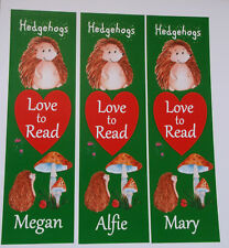 3 CHILDRENS PERSONALISED BOOKMARKS HEDGEHOGS LOVE TO READ.18cm x5cm laminated