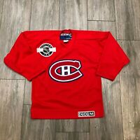 Vintage CCM Montreal Canadiens Youth Red Sewn Stitched Hockey Jersey