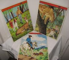 3 Toy 1960s Character Whitman Tray Cardboard Puzzles - Lassie Dog & Lone Ranger