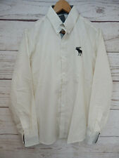"Mens Shirt Chest 40"" Stone Button Up With Long Sleeves With Contrast Cuffs"