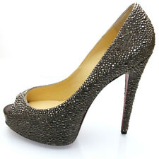 Louboutin : Escarpins Vendome Strass 120 Version Anthracite EU39.5, US9.5,UK6.5