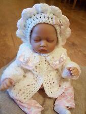 HAND CROCHET NEWBORN BABY GIRLS  CARDIGAN AND BONNET HAT SET WITH BLING HEART