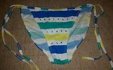 Gorgous white blue green yellow striped ATMOSPHERE bikini bottoms size 14