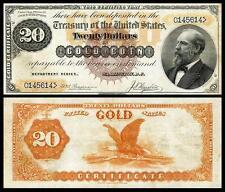 CRISP UNC. 1882 $20.00 GOLD CERTIFICATE COPY NOTE! READ DESCRIPTION