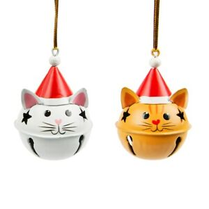 Sass & Belle Festive Cat Bell Bauble Hanging Decoration Xmas Christmas Tree x2
