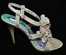 CHIC Gold Sparkle Strappy Stileto Platform High Heel Open Toe Slingback Shoe 10