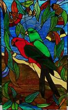 GUM LEAVES & BLOSSOMS, KING PARROT PAIR STAINED GLASS WINDOW original leadlight