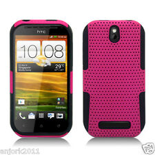 HTC One SV Boost Cricket MESH HYBRID CASE SKIN COVER ACCESSORY HOT PINK BLACK