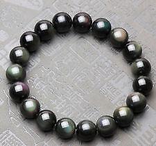 NATURAL Black Rainbow Obsidian stone Bracelet +++AAA QUALITY 8 mm