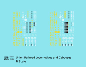 K4 N Decals Union Railroad Locomotive and Caboose Yellow and White