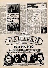 Caravan Tir Na Nog Fairfield Halls, Croydon MM4 show Advert 1974